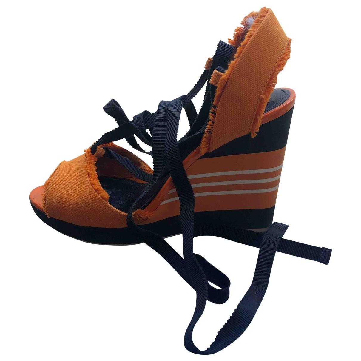 Prada \N Orange Cloth Sandals for Women 35.5 EU