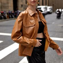 Button Front PU Leather Jacket