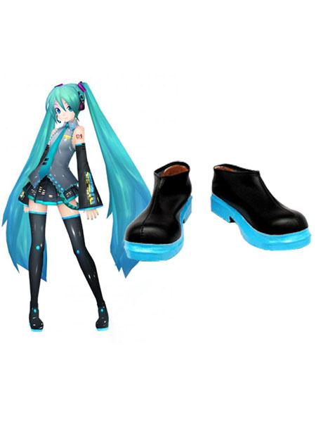 Milanoo Stylish Vocaloid Hatsune Miku Imitated Leather Cosplay Shoes Halloween