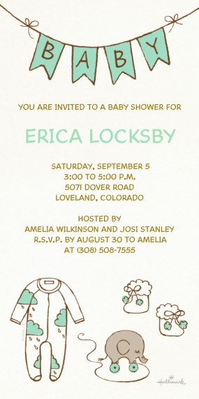 Baby Shower Invitations Flat Matte Photo Paper Cards with Envelopes, 4x8, Card & Stationery -Charming Linework Shower - Teal