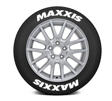 Tire Stickers MAX-1718-1-4-W Permanent Raised Rubber Lettering 'Maxxis' - 4 Of Each - 17