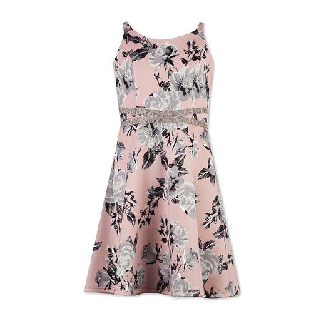 Speechless Big Girls Sleeveless Skater Dress, 7 , Pink