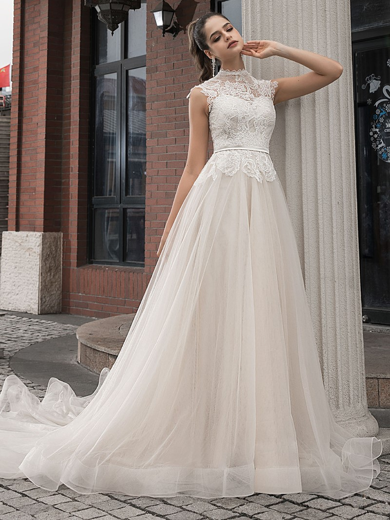 Ericdress Chapel Cap Sleeves A-Line High Neck Lace Wedding Dress 2020