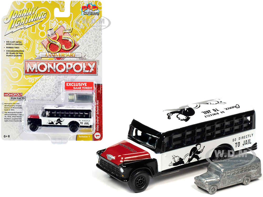 1956 Chevrolet School Bus White and Black with Red Hood and Game Token
