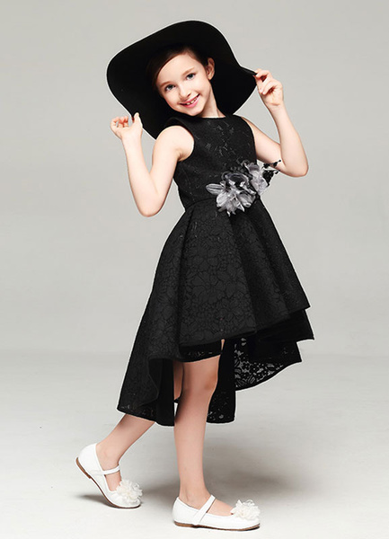 Milanoo Lace Flower Girl Dress Black Strapless Pleated High Low A Line Evening Dress