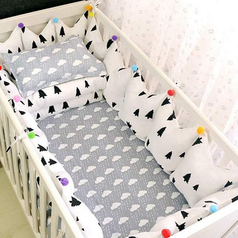 Gray Trees Pattern 9-Piece 100% Cotton Baby Crib Bedding Set