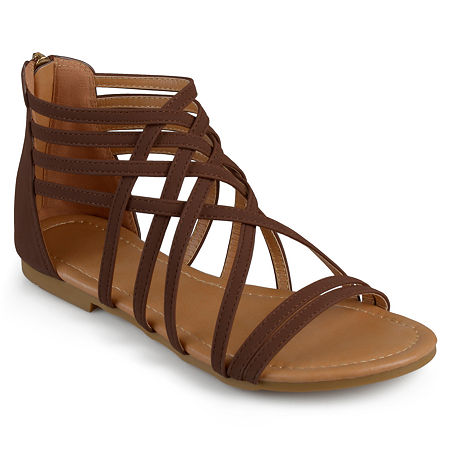 Journee Collection Womens Hanni Criss Cross Strap Gladiator Sandals Wide Width, 6 Wide, Brown