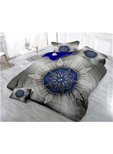 Blue Flowers Wear-resistant Breathable High Quality 60s Cotton 4-Piece 3D Bedding Sets