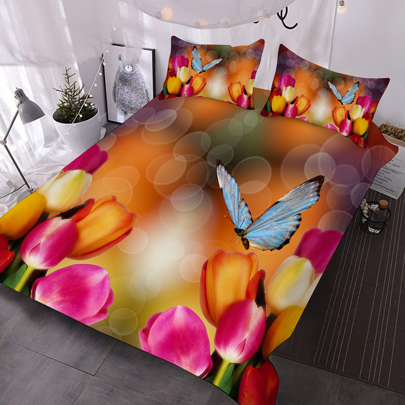 Tulip And Dancing Butterflies 3D Printed 3-Piece Polyester Comforter Sets