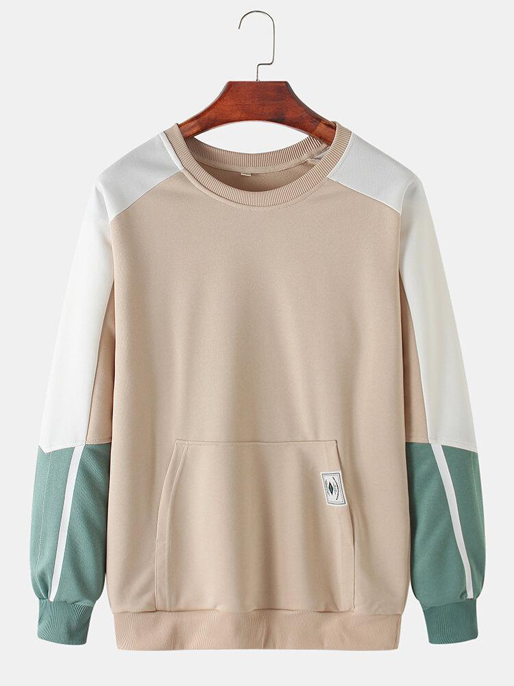 Mens Cotton Color Block Stitching Applique Casual Pouch Pocket Crew Neck Sweatshirts