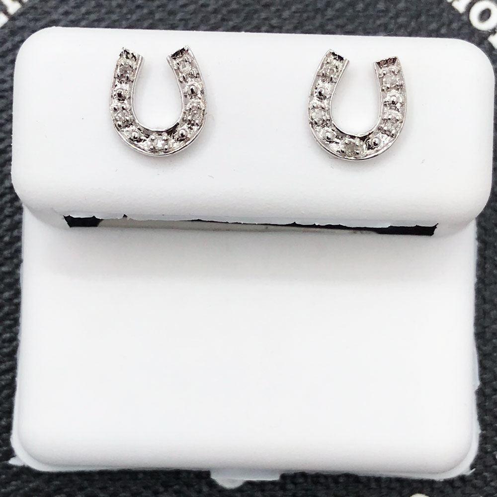 Horseshoe Diamond Earrings .05cttw 10K White Gold