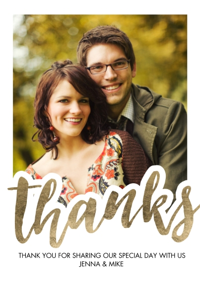 Wedding Thank You Flat Matte Photo Paper Cards with Envelopes, 5x7, Card & Stationery -Thank You Bold Script