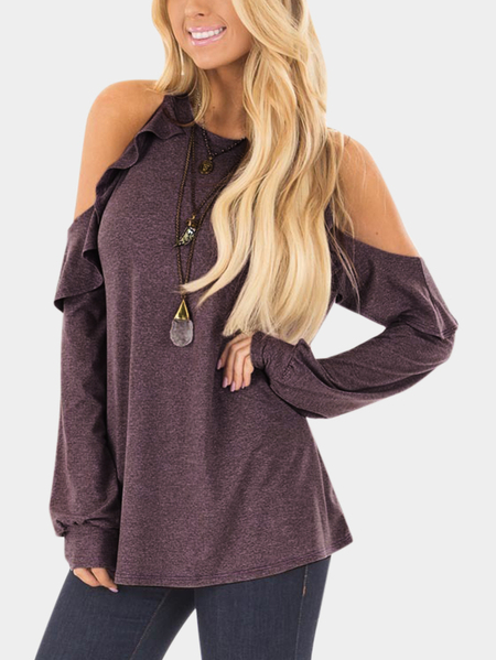 Yoins Red  Cold Shoulder Flounced Details Long Sleeves Tee