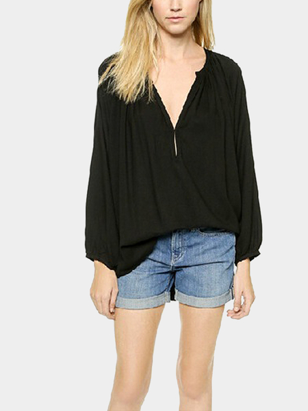 Yoins Deep V Neck Drape Blouse