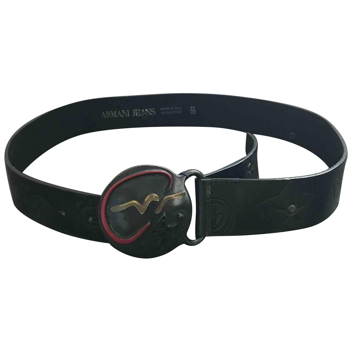 Armani Jeans \N Black Leather belt for Men 85 cm