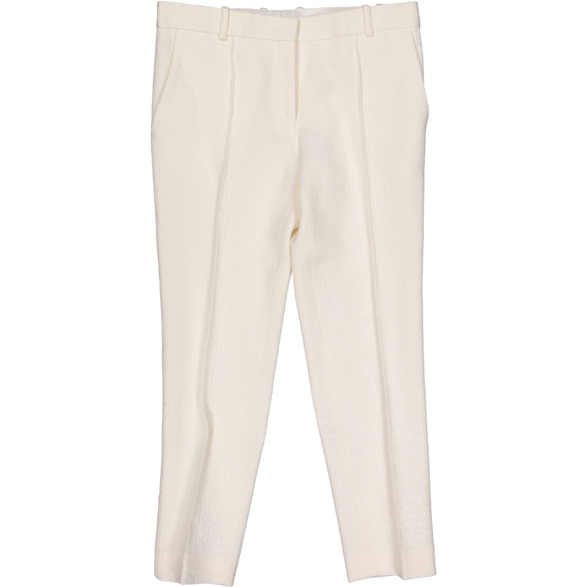 Celine \N Ecru Cotton Trousers for Women 38 FR