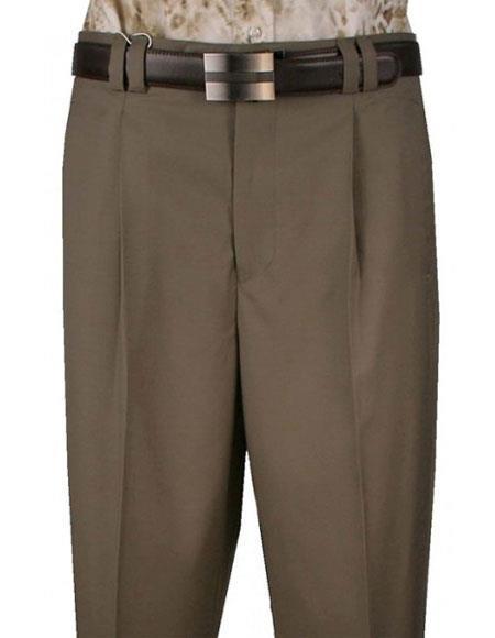 Mens 1 Pure Wool Sage Wide Leg Single Pleat Pant