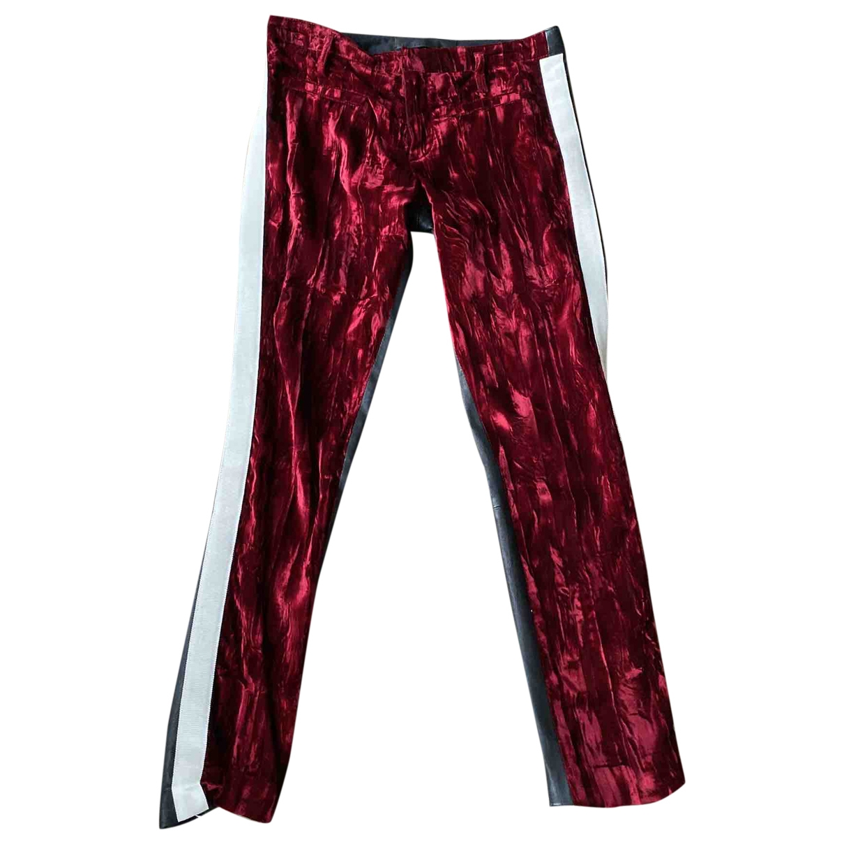 Haider Ackermann \N Red Leather Trousers for Women 38 FR