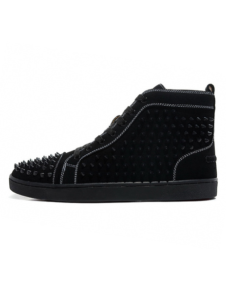 Milanoo Black Suede  Sneakers 2020 Men Round Toe Rivets Lace Up Skate Shoes High Top Spike Shoes