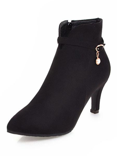 Milanoo Black Ankle Boots Suede Pointed Toe Pearls High Heel Booties For Women