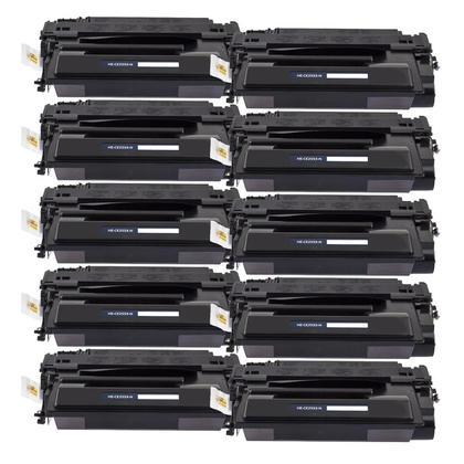 Compatible HP 55X CE255X cartouche de toner noire haute capacite - boite economique - 10/paquet