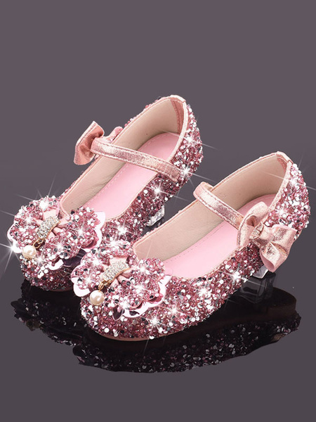 Milanoo Flower Girl Shoes Silver Sequined Cloth Bows Party Kids Shoes For Wedding