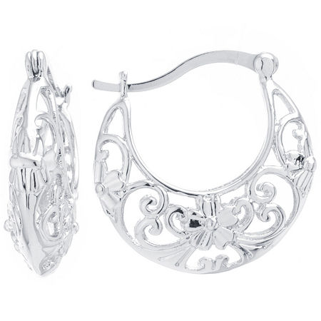 Silver Reflections Silver Plated Boxed Pure Silver Over Brass 25mm Round Hoop Earrings, One Size , No Color Family