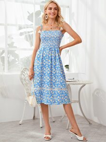 Floral Print Smocked Bodice Knotted Cami Dress