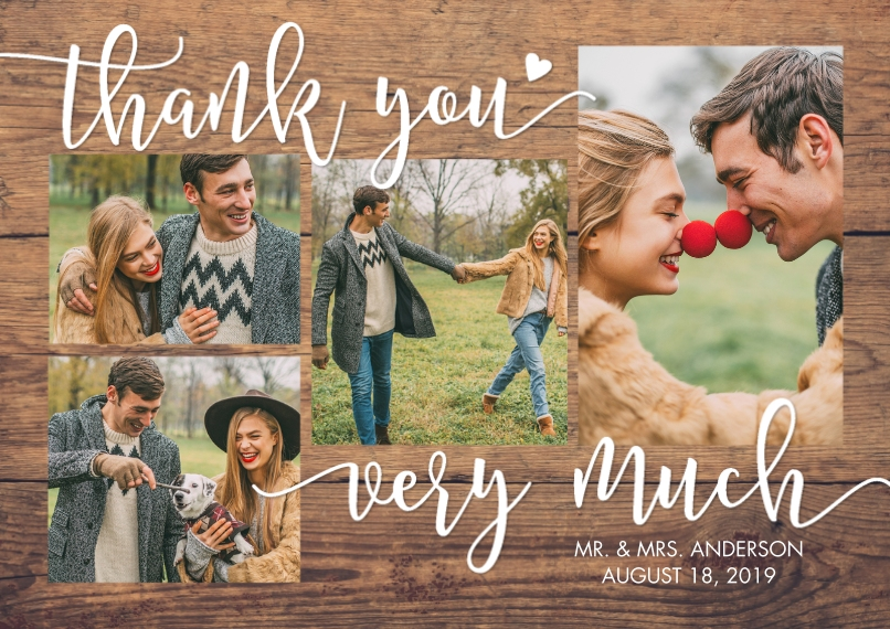 Wedding Thank You 5x7 Cards, Premium Cardstock 120lb with Scalloped Corners, Card & Stationery -Thank You Woodgrain