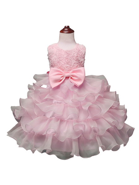 Milanoo Flower Girl Dresses Jewel Neck Sleeveless Ouganza Kids Social Party Dresses