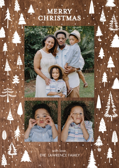 Christmas Photo Cards Flat Glossy Photo Paper Cards with Envelopes, 5x7, Card & Stationery -Christmas Gold Trees by Tumbalina