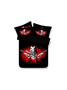 3D Western Style Cowboy Skull Printed 5-Piece Comforter Sets