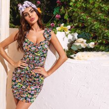 Allover Floral Print Ruched Ruffle Strap Bodycon Dress