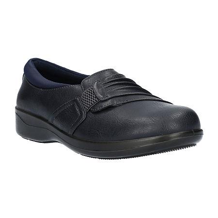 Easy Street Womens Folk Slip-On Shoe, 7 Wide, Blue