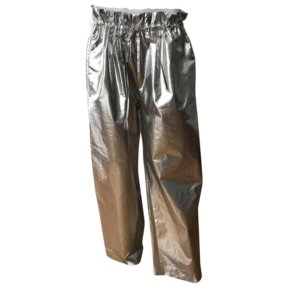 Paco Rabanne \N Metallic Cotton Trousers for Women 38 FR