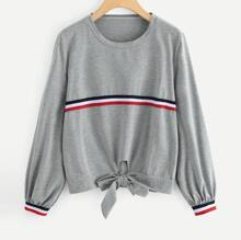 Plus Knot Front Striped Tape Sweatshirt