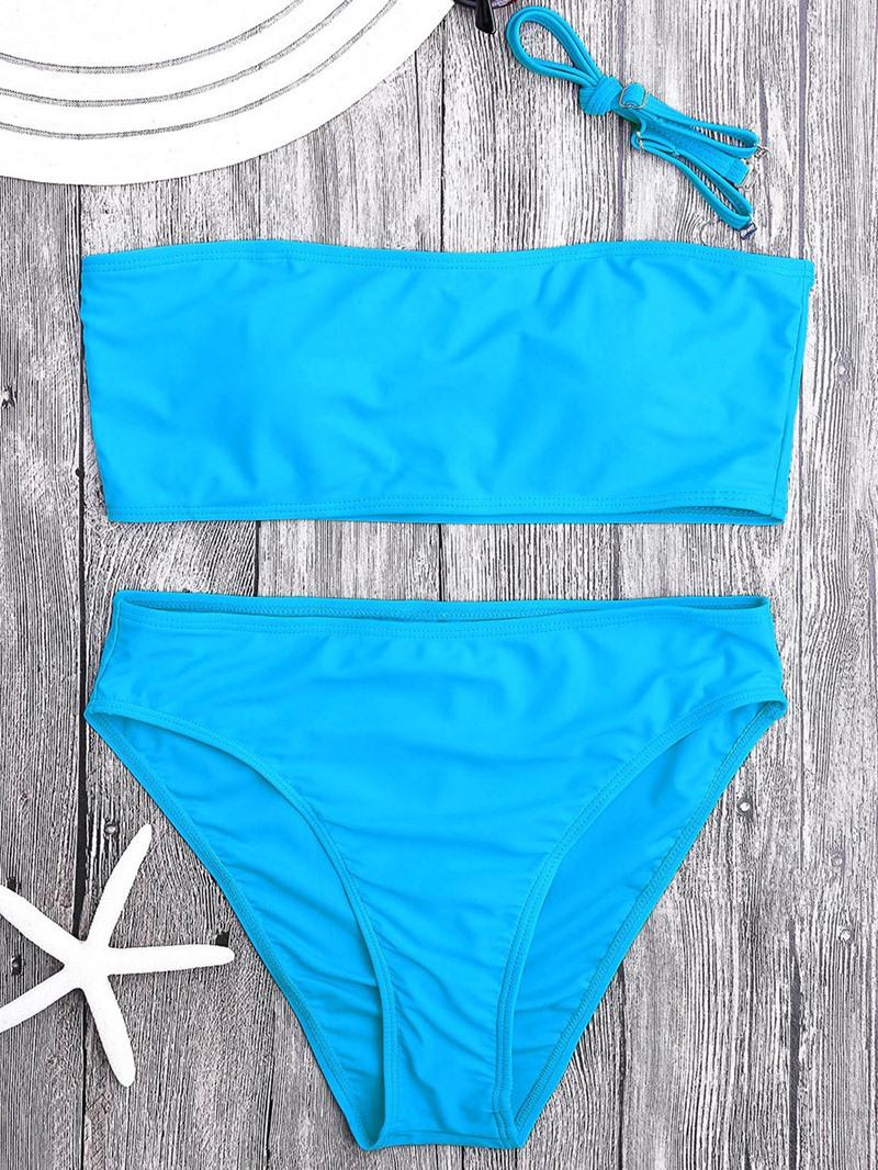 Ericdress Plain High Waist 2-Pcs Bikini Bathing Suits