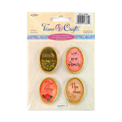 Self-Adhesive Family Scrapbook Metal Stickers, Oval Shape - Time 4 Crafts