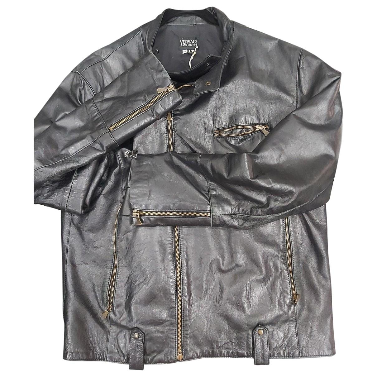 Versace Jeans \N Black Leather jacket  for Men XL International