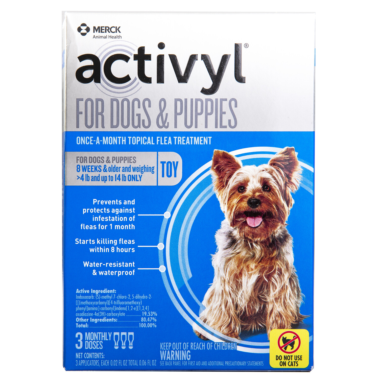 Merck Activl Flea Treatment Once-a-Month Topical 3 doses TOY dogs - Blue