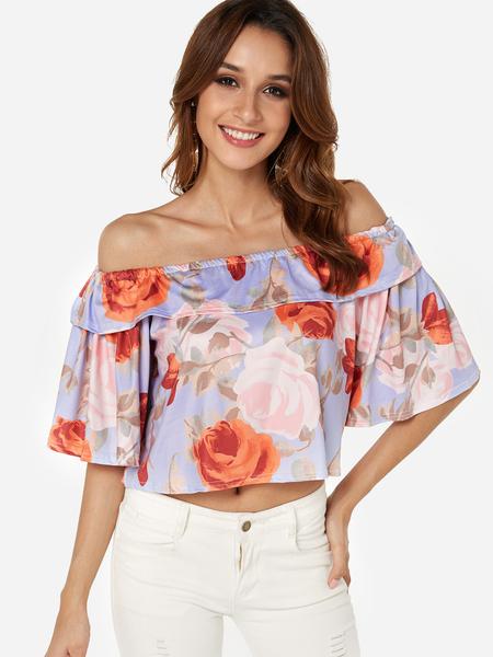 Yoins Tiered Random Floral Print Off Shoulder  Blouse