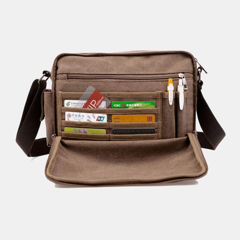Men Canvas Multifunction Messenger Bag Shoulder Bag Handbag
