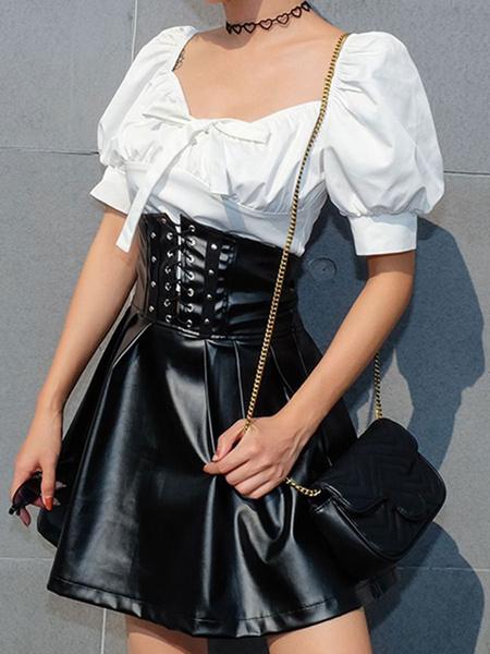 Milanoo Corset Skirt For Women Black Leather Like Lace Up Women Skirt