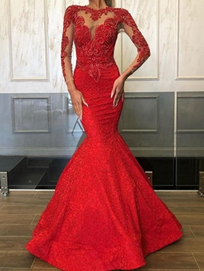 Ericdress Scoop Appliques Trumpet/Mermaid Floor-Length Evening Dress 2020