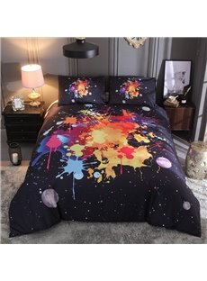 Splash-ink Painting 3D Printed Polyester 3-Piece Black Duvet Cover Set with 2 Pillowcases