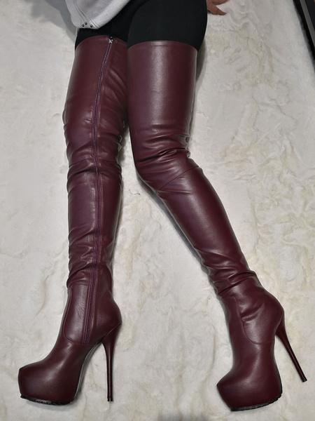 Milanoo Women Sexy Boots Burgundy Platform Round Toe Zip Up High Heel Thigh High Boots Over The Knee Boots