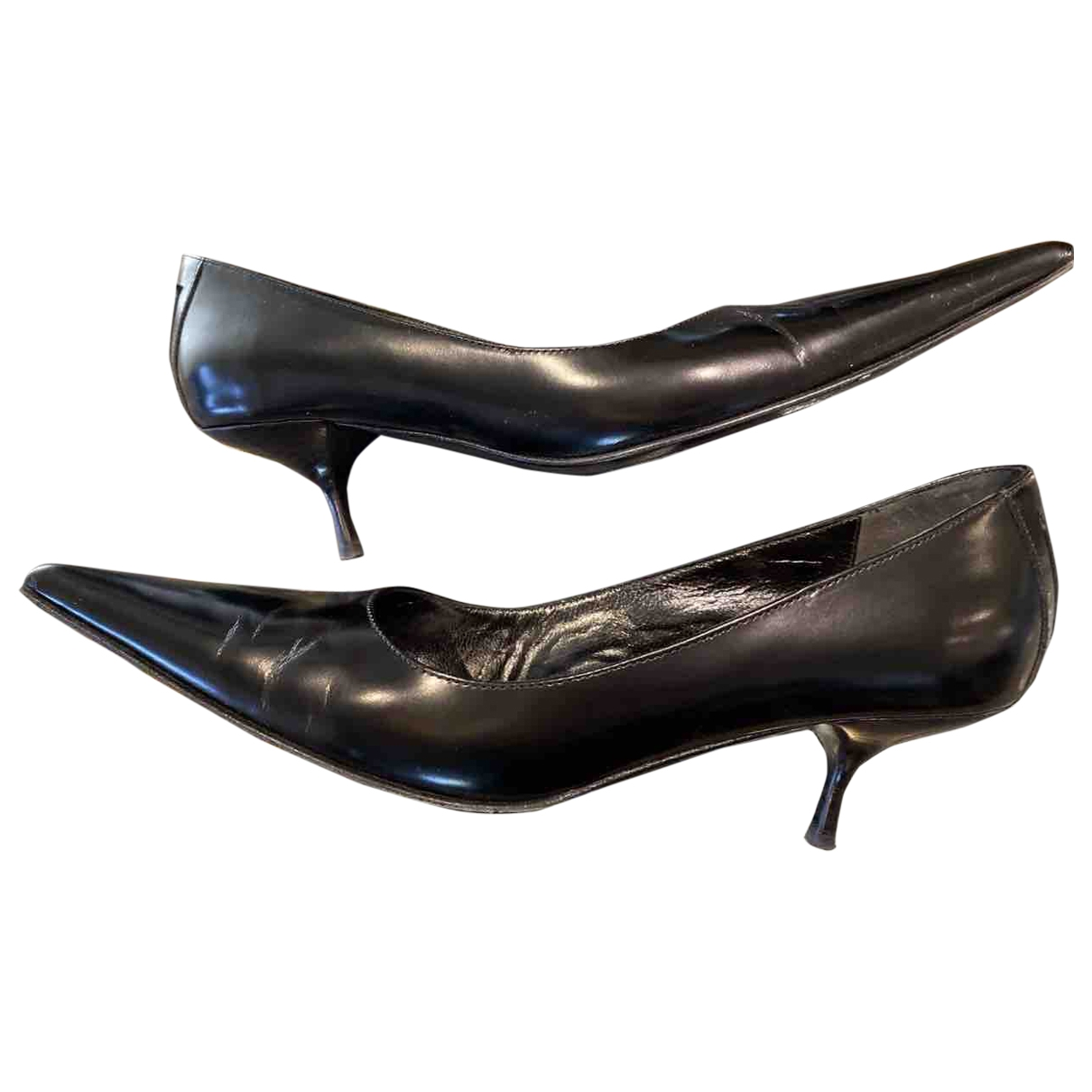 Fendi \N Black Leather Heels for Women 38.5 EU