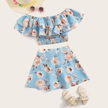 Girls Flounce Trim Shirred Floral Print Bardot Top & Skirt Set