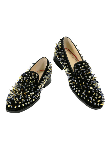 Milanoo  Mens Black Glitter Loafer Shoes with Spike Rivets 2020