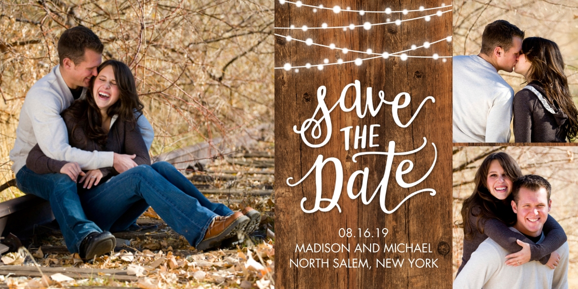 Save the Date Flat Glossy Photo Paper Cards with Envelopes, 4x8, Card & Stationery -Save the Date Lights Rustic by Tumbalina